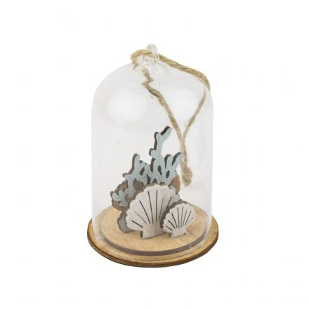 Glass Dome with Wooden with Shells & Coral Hanging Coastal Decoration